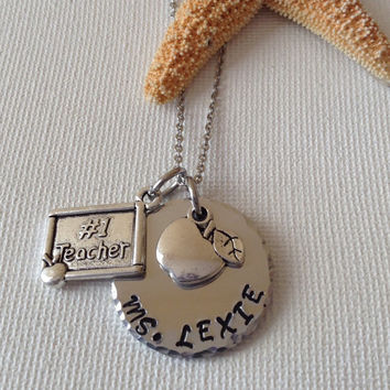 Teacher necklace, #1 teacher, best teacher, school gifts, teacher gifts, handstamped and personalized