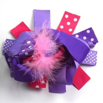 Girls Purple/Pink Boutique Bow