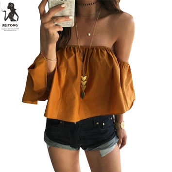 Feitong Off Shoulder Top Blouse Cropped for Women's Sleeveless Solid Ruffles Blouse Woman Shirt Tops Femme Curto Camicia Donna