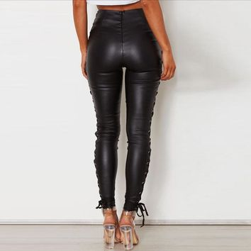 Sexy Leather Pant Color Buttons Party Body Club Pencil Fashion Pants