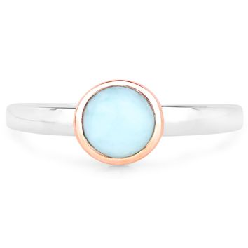 LoveHuang 0.84 Carats Genuine Larimar Bezel Ring Solid .925 Sterling Silver With Two-Tone 18KT Rose Gold Plating