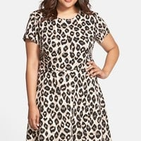Plus Size Women's Eliza J Cap Sleeve Ponte Fit & Flare Dress,