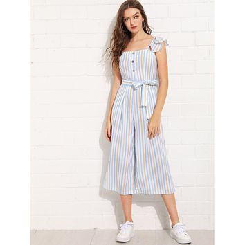 Vertical-Striped Wide Leg Jumpsuit