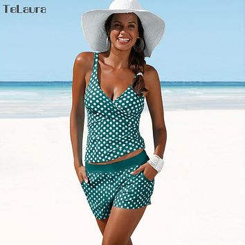 2018 Plus Size Swimwear Women Swimsuit Push Up Two Pieces Tankini Padded Bathing Suit Polka Dot High Waist Bikini Set Beachwear