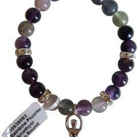 8mm Flourite- Amethyst Stone With Goddess