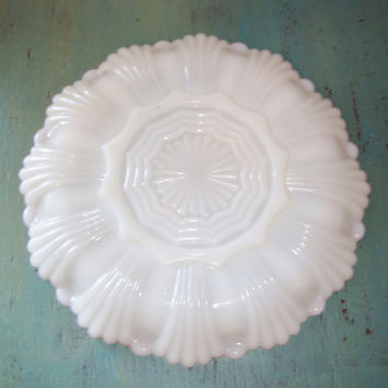 Vintage Anchor Hocking Egg Plate, White Milk Glass Serving Dish, Anchor Hocking Hostess Gift