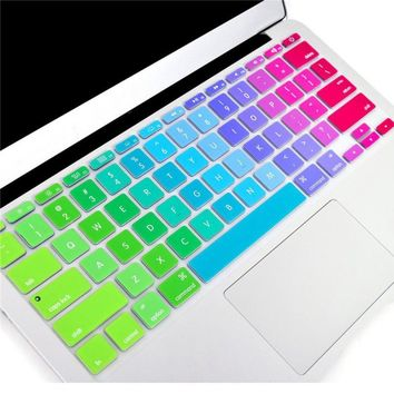 Silicone Flower Decal Rainbow Keyboard Cover Keypad Skin Protector For Apple Mac Macbook Pro 13 15 inch Air 13 Retina 13 US