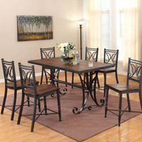 Wood Plank and Metal Pub Dining Set