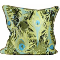 Abstract Peacock Feathers Pillow