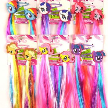 Fashion Lovely Little Horse Cartoon Hair clips Unicorn Hairpin Kids Girls hair accessories with Long Colorful Wig Decoration