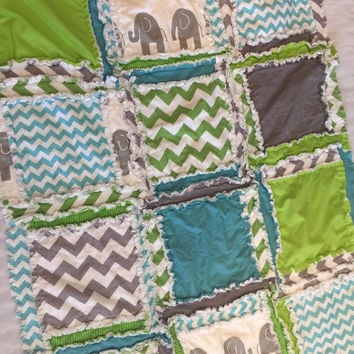 Boy Rag Quilt, Elephant, Chevron, and Polka Dot in Turquoise, Green, and Gray, Small Crib Quilt