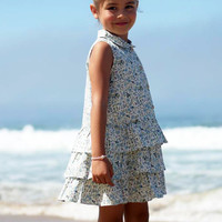 Blue Floral Print Drop Waist Casual Dress w 3 Tier Layer Ruffle Skirt Spring & Summer (Girls 2T to Size 8)