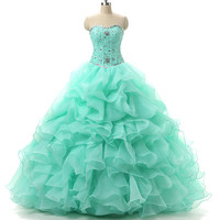 New Stock Organza Ruffled Beaded Sweetheart Neck Pink Quinceanera Dresses 2017 Prom Ball Gowns Dress15 Years Vestidos De 15 Anos