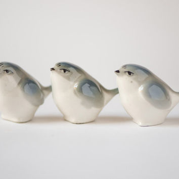 Mid century porcelain figurines sparrows set of 3 vintage birds blue grey white shades Soviet home decor