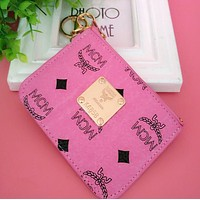 """MCM"" Trending Stylish Multicolor Leather Card Pack Card Bag Card Zipper Mini Thin Card Package Zero Wallet Pink I12551-1"