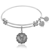 Expandable Bangle in White Tone Brass with Proud Daughter U.S. Air Force Symbol