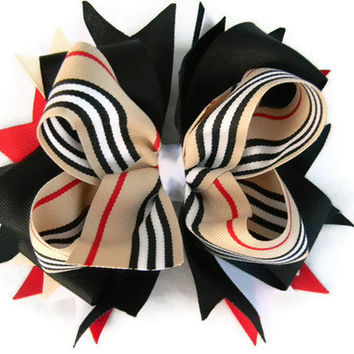 Girls Hair Bow, Burberry Stacked Boutique Hair Bow, OTT Boutique Hair Bow