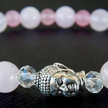 Natural Rose Quartz Bracelet,Buddah Bracelet,  Gemstone Bracelet, Crystal Healing Beaded Bracelet - FREE SHIPPING