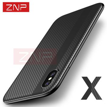ZNP Luxury Full Protective Case For iPhone X 10 TPU & PC Carbon Fiber Back P Cover Cases For Apple iPhone X 10 Case Shell