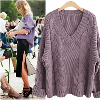 Plus Size Women's Fashion V-neck Long Sleeve Twisted Knit Pullover Tops [189417357338]