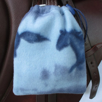 Stirrup Covers:  Blue Running Horses Print Fleece