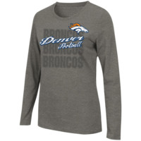 Women's Denver Broncos Majestic Gray Gamer Gear Long Sleeve T-Shirt