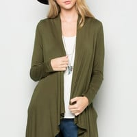 Military Green Lightweight Long Sleeve Cardigan