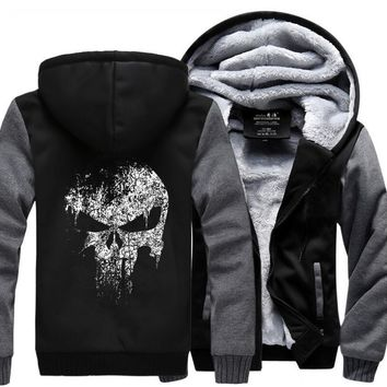 The Punisher Skull Men's sweatshirt Hot Winter Warm Fleece Thick Hoodies Men Zipper Jacket Fashion Coat