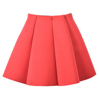 Red Structured Pleats Mini Skirt