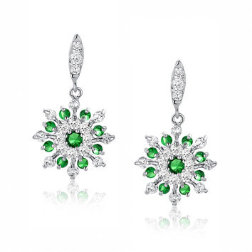 Snowflake W. Green and Clear Round Cubic Zirconia Earrings