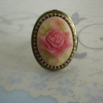 Silver Statement Poison Locket  Ring with Cloisonne Flower-Treasure Ring-Poison  Ring-Circle Ring
