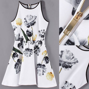 White Floral Print Sleeveless Zippered Dress