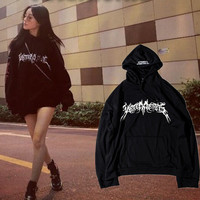 Vetements Fashion Edgy Drawstring Print Long sleeve Top Sweater Hoodie