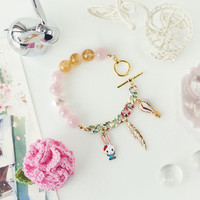 Cotton Candy Bracelet made of Pink Rose Quartz, Citrine Crystals and Cute Charms