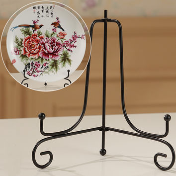 "New Practical 4""~12"" Iron Easel Bowl Plate Art Photo Picture Frame Holder Black Book Display Stand DIY Home Decors"