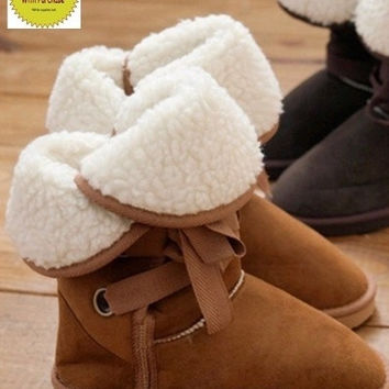 Winter Snow Boot Women Man-made Fur Buckle  Ankle Boots Shoes = 1931775620
