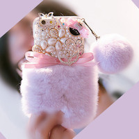 Real Rex Rabbit Fur Hair Case For Samsung Galaxy Note 5 4 3 2 J2 J5 J7 Prime C9 Pro Case Diamond Capa coque pompom pearl Fundas