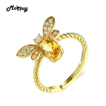 MoBuy MBRI019 Lovely Bee Natural Gemstone Citrine Ring 925 Sterling Silver 14K Gold Plated Adjustable Fine Jewelry For Women