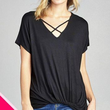 Ladies fashion plus size short dolman sleeve cross strap v-neck twisted rayon spandex top