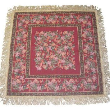 DaDa Bedding Field of Roses Floral Red Square Tapestry Table Cloth (5594)