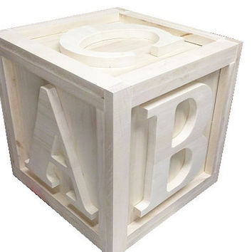 "BIG Wooden Block 12""x12""x12"" Photo Props Kids Bedroom Playroom Nursery UnPainted"