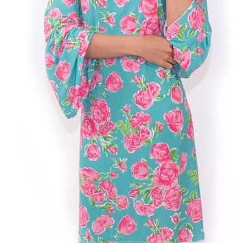 Simply Southern Printed Bell Sleeve Dress- Roses
