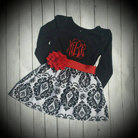 Damask baby dress, Christmas dress, Black and white damask dress, baby's first christmas