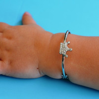 Baby Toddler Tiara Crown Silver Bangle Bracelet - First 1st Birthday Baptism New Baby Gift