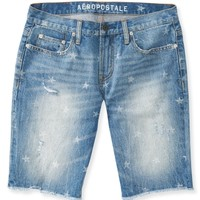 Star Destroyed Light-Wash Denim Cut-Off Shorts
