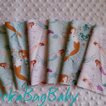 Mint, Purple, Lavender, MERMAID Fabric, 8 inch Fabric Squares, DESTASH, Scraps