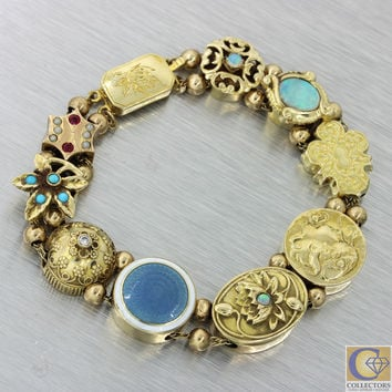Antique Victorian 14k Solid Gold Turquoise Ruby Pearl Opal Slide Charm Bracelet