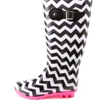 Rubber Chevron Print Rain Boots by Charlotte Russe - Black/White
