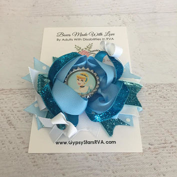 Disney Princess Cinderella Hair Bow, Disney Inspired Newborn Infant Baby Bow Disney Princess Birthday Bows Vacation Hair Hairbow cinderel