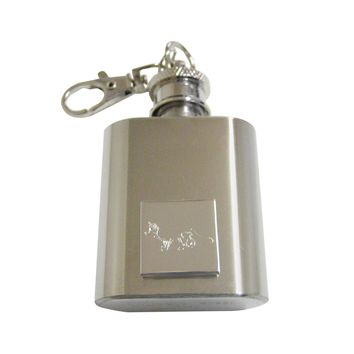Silver Toned Etched Fox 1 Oz. Stainless Steel Key Chain Flask